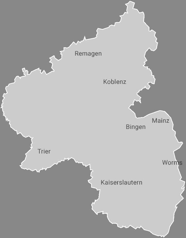 Rheinland-Pfalz Umriss mit Standorten